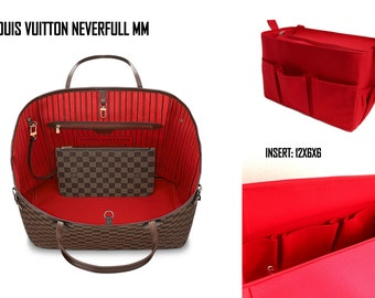 Purse organizer for Louis Vuitton Neverfull MM with Zipper closure- Bag organizer insert in Rich Red