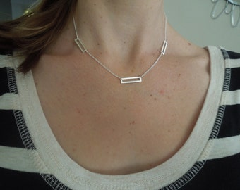 silver bar necklace, three bar necklace, rectangle necklace, sterling silver, simple necklace, layering necklace, sleek necklace, N51