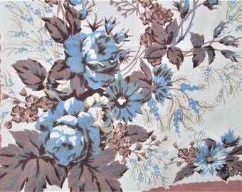 "Vintage Tablecloth Blue Brown Floral MWT Vintage Linens Printed Table Cloth 52"" x 70"" Table Linens Mid Century Kitchen Prints Charming NWT"