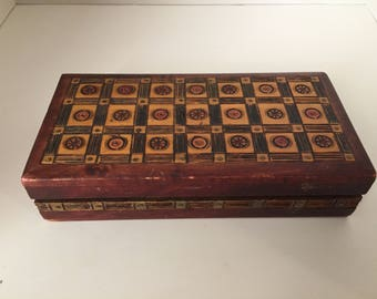 Collectible Wooden Box Jewelry Trinket Deck of Cards Hand Carved Circles Vintage