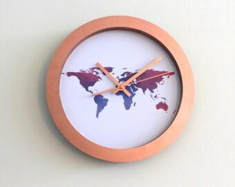 Multicolour Worldmap Atlas Copper clock
