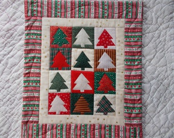 Christmas Trees Quilted  Wall Hanging