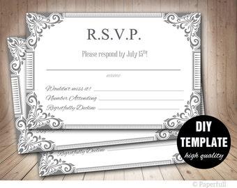 Diy RSVP Template, Grey Wedding Response Card, Silver Wedding RSVP, Silver Response Card,Printable RSVP Card Instant Download