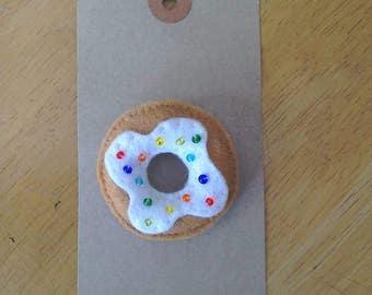 Felt doughnut brooch with rainbow sprinkles