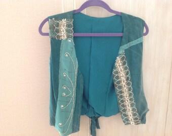 Designer vest with antique lace/beading trim