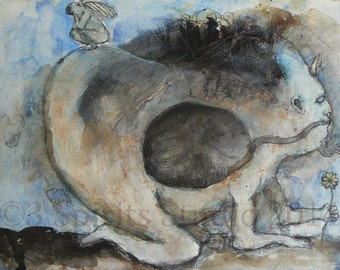 """Original raw expression contemporary art brut Mixed Media Painting on paper-""""The Last Flower"""""""