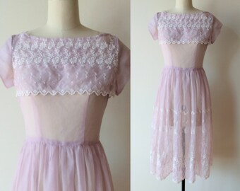 50's sheer dress / lavender eyelet fit and flare sheer dress size extra small