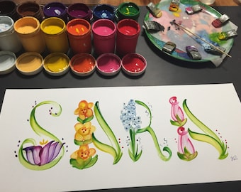 Peinture florale/fleur/papillon nom - fait sur commande