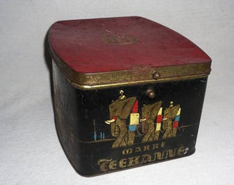 Art Deco tin-teapot-Tea Caddy-colonial store-vintage tea can-around 1920-tin tea