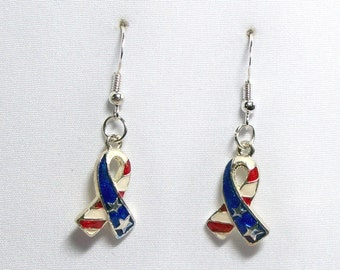 Red White and Blue remembrance enameled ribbon stars and stripes earrings on 925 sterling ear wires E110