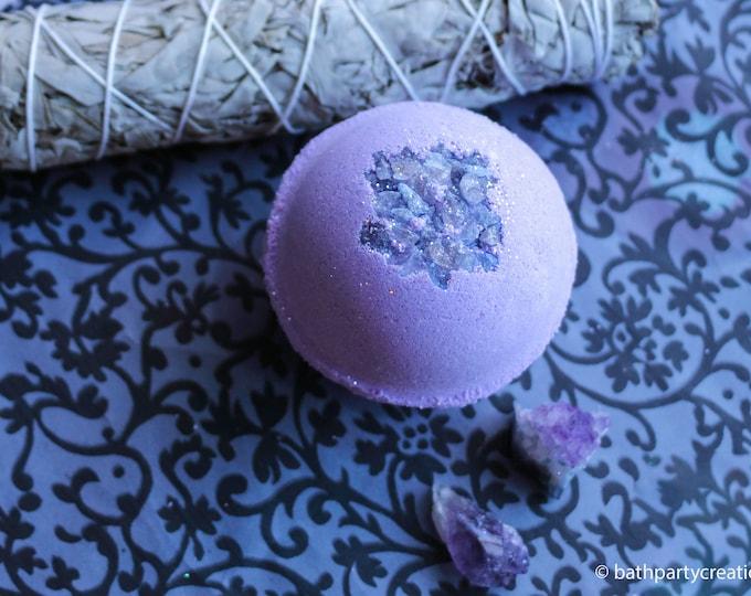 Amethyst XL 11-12 oz Bohemian Crystal Healing Himalayan Salt Bath Bomb, Geode Bomb, All Natural Bath Bomb with Raw Amethyst Crystal Inside