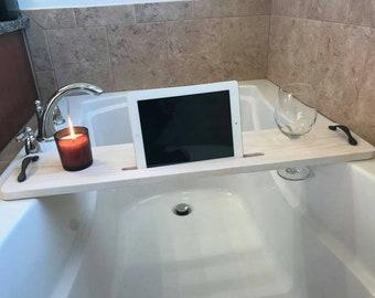 Bathtub Caddy, Bathtub Tray, Bath Tray, Bathroom Accessories , Bathtub Shelf, Bathtub Book holder, Bath Caddy,Bath Board, White Wash