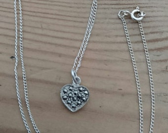 Vintage sterling silver and marcasite heart pendant and chain