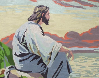 "Vintage Paint by Number Painting Jesus ""Meditation"" Scene PBN 1950s Framed Large size"