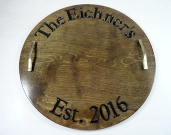 Wine Barrel Tray - Wine Barrel Decor - Wine Barrel Sign - Wood Serving Tray - Personalized Serving Platter - Ottoman Tray - Guest Book Idea