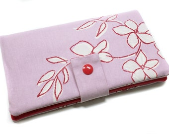 wallet fabric purple pink woman wallet companion, checkbook holder, wallet, women gift, mother's day