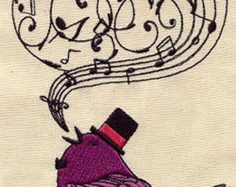 Victorian Songbird Embroidered Flour Sack Hand/Dish Towel