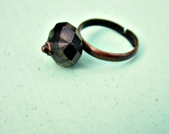 Faceted Espresso Glass on Adjustable Copper Ring: Black Coffee WAS 10.00