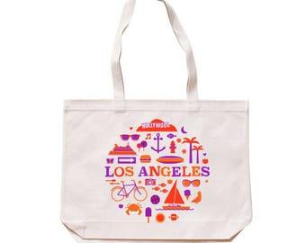 City Living Tote bag - Los Angeles - California - Market bag - Reusable bag - Canvas tote - Shopping bag - Shoulder bag - Organic