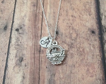 Noah's Ark initial necklace - Noah's ark jewelry, bible story jewelry, religious necklace, Christian jewelry, silver Noah's Ark pendant