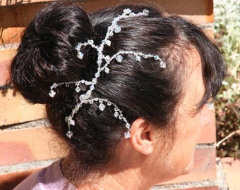 White bridal hair ornament