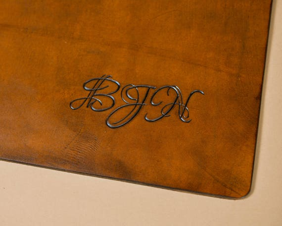 Monogrammed Leather - Add On - Victorian Monogram Personalization.