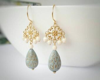 Gold dangle earrings, gold drop earrings, light blue earrings, long gold earrings, gold chandelier earrings, beaded earrings, gift for her
