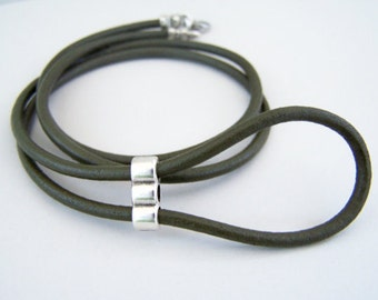 Olive Green, Eyeglass Lanyard, Leather Eyeglass Ring, Eyeglass Necklace, Eyeglass Chain, 28-36 inchs, Eye Glasses Holder,