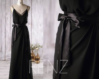 Black Formal Dress,V Neck Chiffon Bridesmaid Dress,Prom Dress,Illusion Spaghetti Strap Party Dress,Long Evening Gown (L133)