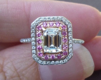 Vintage Emerald cut 1.5 carat tw diamond engagement ring E VS2 pink sapphire diamond halo ring size 4.75 stunning