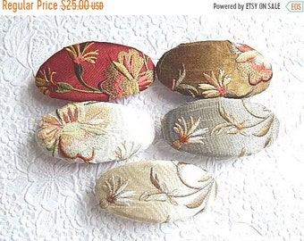 CLEARANCE - Garden party floral embroidered hair barrette, oval hair clips for thick hair, bridal party gift