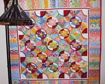 Lap quilt, garden applique