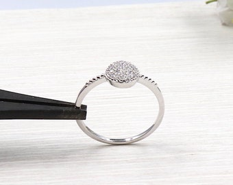 covered cubic zirconia 925 sterling silver coin ring