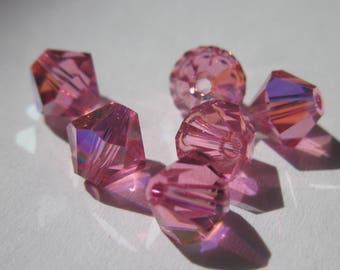 6 genuine swarovski 6 mm pink AB Crystal bicones (98)