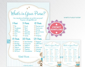 Blue teddy bear what's in your purse, baby shower game printable - INSTANT DOWNLOAD
