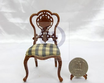 """Miniature 1""""Scale  Extraordinary Side Chair For Dollhouse [Finished in walnut]"""