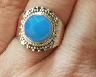 Blue Chalcedony Ring / Chalcedony Ring/ Sterling Silver Ring / Sky Blue Ring /Boho Ring / Boho Jewelry / Size 7 / Calming Stone / Gift