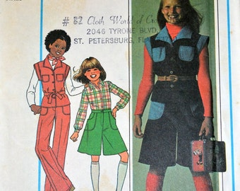 Vintage Sewing Pattern Simplicity 7906 Girl's  Culotte and Vest Size 10-12 Uncut Complete