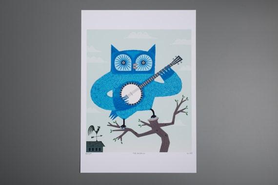 Owl Print - The Banjowl - posters and wall art - Children's room decor - Animal art - iOTA iLLUSTRATION
