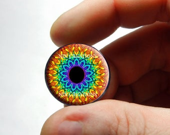 Glass Eyes - Kaleidoscope Eye Human Doll Taxidermy Eyes Handmade Glass Cabochons Design 4 - Pair or Single - You Choose Size