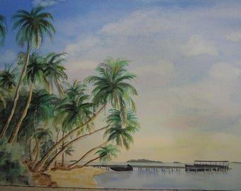 Maldives Beach watercolor