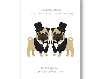 Personalised gay wedding card husband special couple
