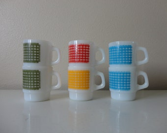 VINTAGE collection of 6 anchor hocking FIREKING milk glass MUGS - gingham pattern - blue green yellow red