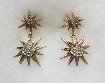 Starburst Earrings   Sunburst Earrings   Star Earrings  Gold Star Earrings    Antique Gold Earrings