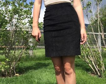 Black Suede Pencil Skirt