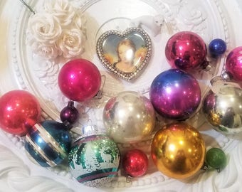 14 Piece Vtg Mercury Glass Christmas Ornament Lot Stencil Feather Shiny Brite!!
