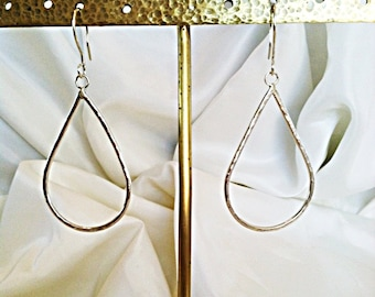 Sterling Silver Tear Drop Earrings - Hammered
