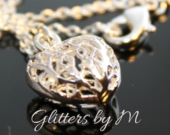 """Silver Filigree Design Puffed Heart Charm Necklace with 18"""" Chain"""