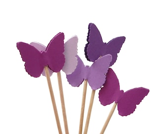 24 Classic Purple Butterfly Party Picks, Cupcake Toppers, Food Picks, Toothpicks - No499