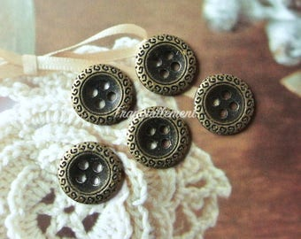 5 Smal Mini Retro Vintage Style Bronze Steampunk Crown Shirt Wedding Jacket Coat Sweater Metal Buttons 0.5 Inches / 1.2 cm